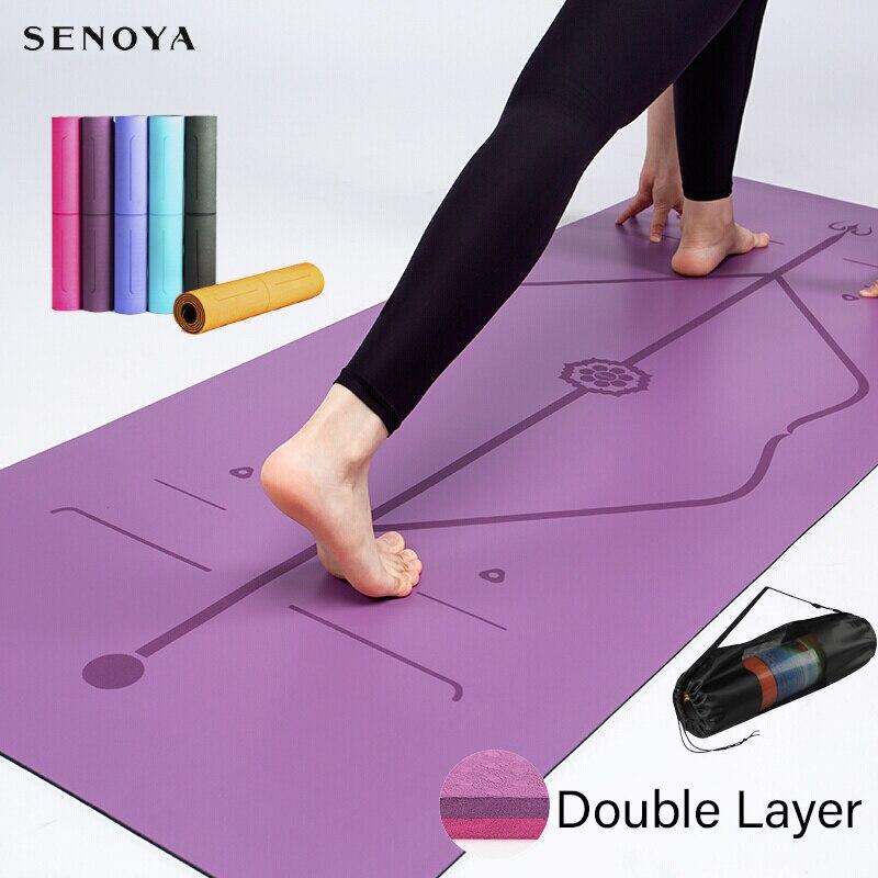 Tpe yoga dupla camada tapete antiderrapante almofada de exercício de yoga com linha de posição para ginástica de fitness e pilates