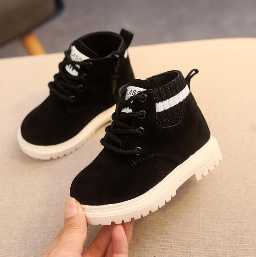 Children Casual Shoes Autumn Winter Martin Boots Boys Shoes Fashion Leather Soft Antislip Girls Boots 21-30 Sport Running Shoes 5