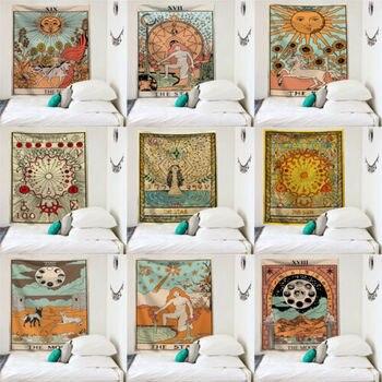 цена на Tarot Tapestry Bohemian Hippie Wall Hanging Mural Decor Tapestry Bedroom Decor Bedspread Throw Cover Sun Moon Wall Decor 95x73CM