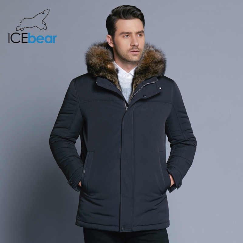 ICEbear 2019 新冬メンズジャケット高品質毛皮の襟コート防風ウォームジャケット男カジュアルコート服 MWC18837D