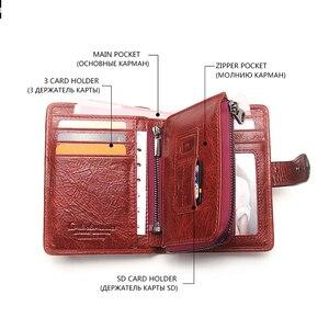 Image 4 - Couro genuíno das mulheres carteiras femininas bolsa de telefone celular bolso longo bolsa ferrolho senhora moeda titular do cartão carteras