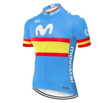 Jersey de ciclismo de manga corta de equipo profesional Movistar, maillot de...