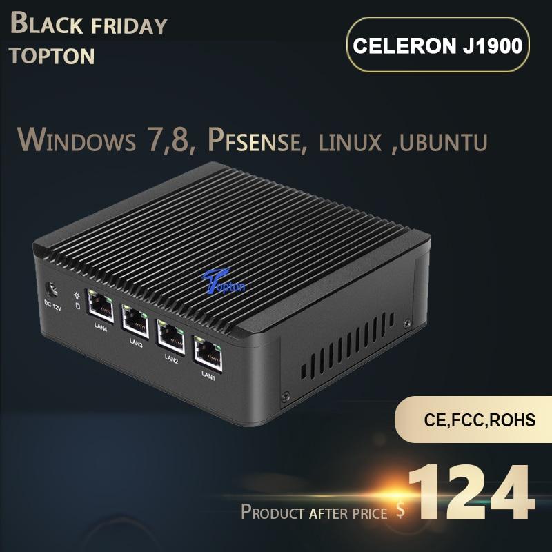 Topton Intel Celeron J1900L4 Quad Core Mini Server 4 Lan(RJ45) Ports VPN PC Firewall Router Computer Support 2.5'' Hard Disk PC