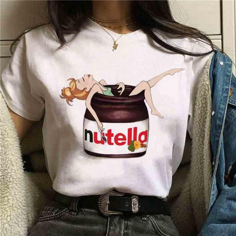 Nutella Kawaii Stampa Della MAGLIETTA Delle Donne di 90s Harajuku Ullzang di Modo T-Shirt Grafica Sveglio Del Fumetto della Maglietta di Stile Coreano Top Magliette femminile