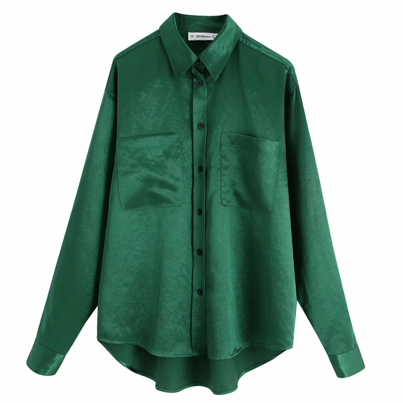 2019 Women Elegant Solid Color Pockets Casual Smock Blouse Shirts Women Long Sleeve Business Green Blusas Femininas Tops LS4297