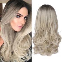 FAVE, смешанный черный пепельный светильник, коричневый блондин, синтетический парик, объемная волна, средняя часть, Термостойкое волокно для черных женщин, косплей, длинный парик