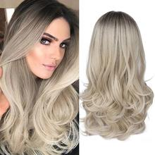 цены FAVE Mixed Black Ash Light Brown Blonde Synthetic Wig Body Wave MiddlePart Heat Resistant Fiber For Black Women Cosplay Long Wig