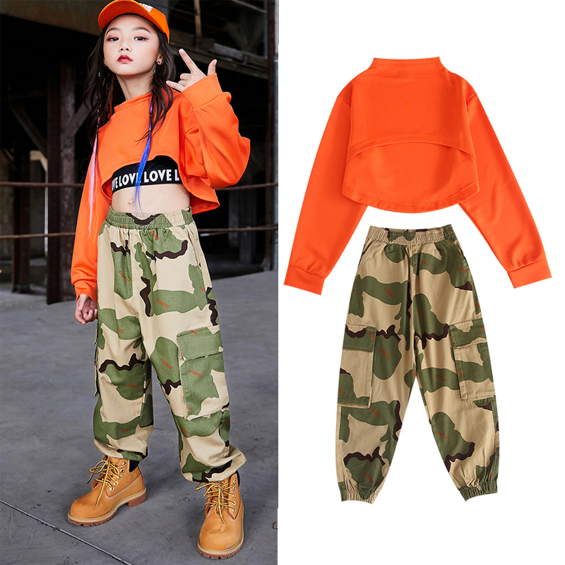 Children 'S Day Jazz Dance Costumes Girls Summer Vest Camouflage Pants Outfit Hip Hop Dance Costumes Stage Performance Wear