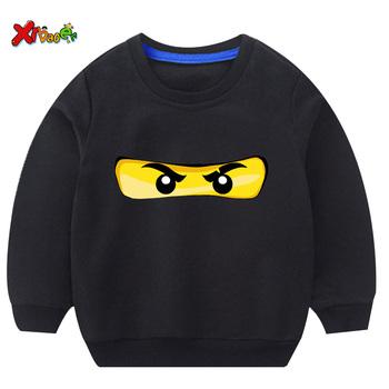 Chłopięca bluza Ninjago dziecięca bluza z kapturem biała dziecięca ładna bluza 2019 jesienna chłopięca pulower bawełniany maluch zimowe ubrania dla dziewczynki tanie i dobre opinie Moda COTTON Pasuje prawda na wymiar weź swój normalny rozmiar Unisex Cartoon Pełna REGULAR