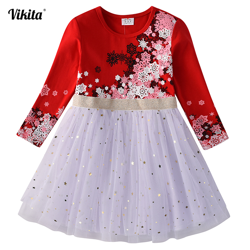 Kids Christmas Dress For Girls Long Sleeve Child Party Perform Sequins Dress Kids Princess Unicorn Vestidos Girls Flower Dresses