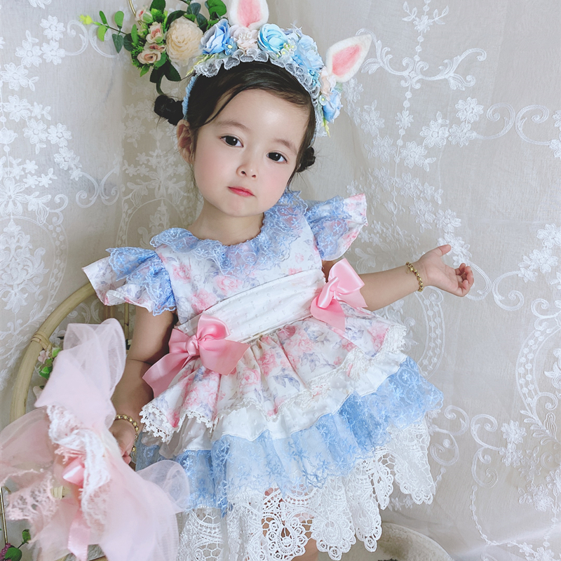 2PCS Summer Lolita Spanish Princess Sleeveless Bow Ball Gown Dress For Bady Girls Lace Print Vintage Birthday Party Dress  0-7Y
