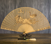 Suzhou Classical Gift Fan Sandalwood Fan Wenwan Arts And Crafts In National Customs Sandalwood Fan Hollow Out