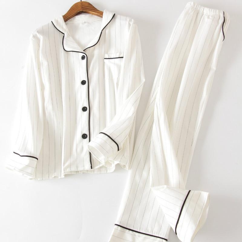 QWEEK Cotton Pajamas For Women Long Sleeve Night Suit Cardigan Pijama Stripes Sleepwear Pyjama Nightwear Dropshipping