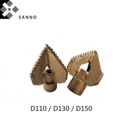 D110/D130/D150, taladro de 3 Alas de diente completo duro, accesorio de bomba de lodo, taladros de tres hojas de aleación, adecuado para tubería de perforación 50/42