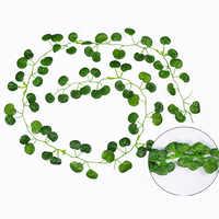 12 Pcs 2M Artificial Hanging Vine Plant Leaves Plastic Home Garden Wall Wedding Decoration QJS Shop