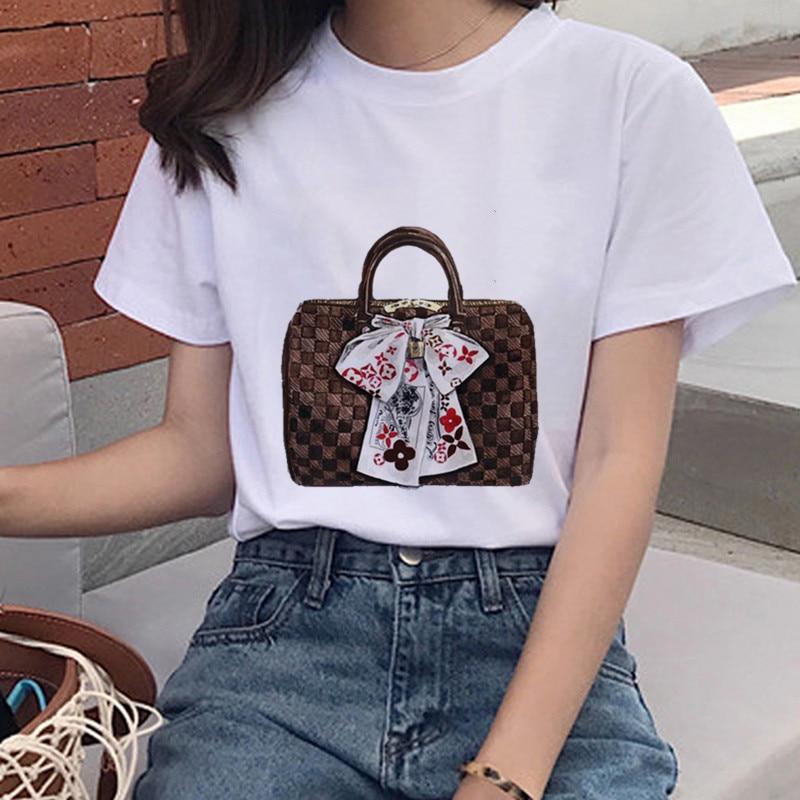 New Fashion Bag Printed T Shirt Women's Casual O Collar High Quality Harajuku Short Sleeve Shirt Street Clothing Hip Hop Top|T-Shirts| - AliExpress