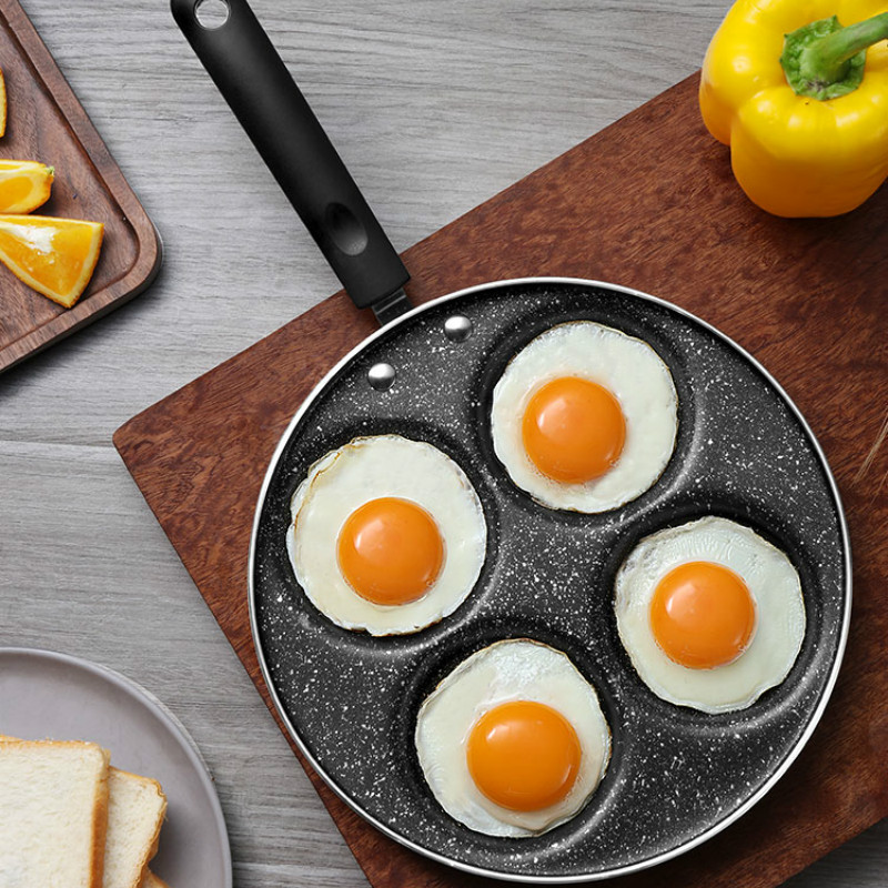 2019 Four-Hole Omelette Pot Eggs Ham Pancake Maker Frying Non-Stick Pan No Oil-Smoke Easy To Clean Pf9118