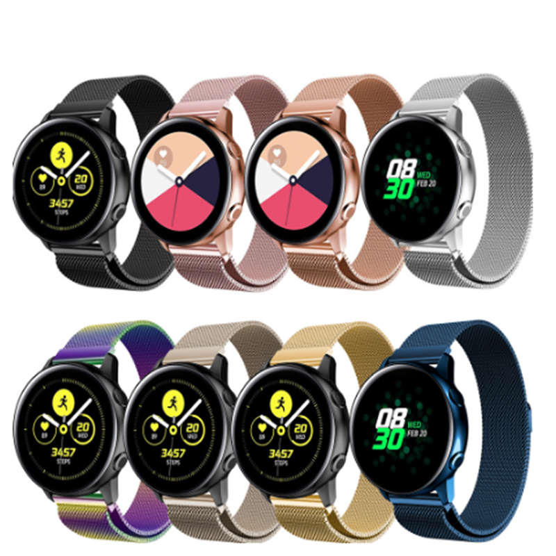 20mm Watchbands For Samsung Galaxy Active Milanese Loop Stainless Steel Strap For Samsung Gear S2 Sport Classic Metal Wristbands