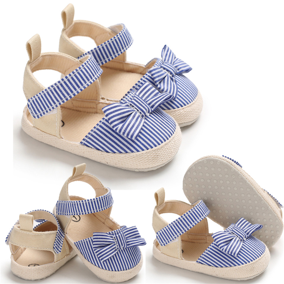 2020 Children Summer Shoes Newborn Infant Baby Girl Soft Crib Shoes Infants Anti-slip Sneaker Striped Bow Prewalker 0-18M