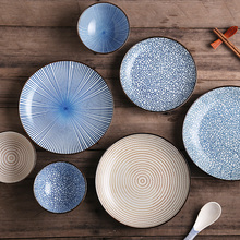 Ceramic Dinner Plates Sets Japanese Traditional Style Geometric Dishes Phnom Penh Tableware Dessert Sushi Plate