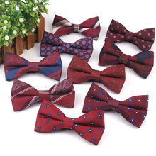 Men Bow-Tie Cravats Jacquard Claret Business Wedding Butterfly Adult Striped Classic