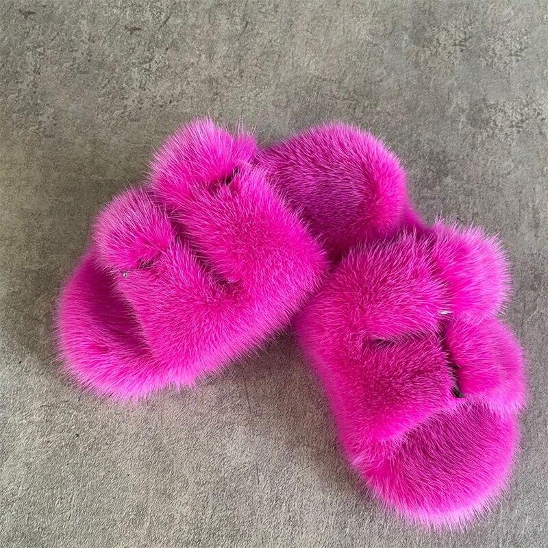 European Station Fashion Fur Slippers Ladies Slippers 100% Mink Fur Slippers Children Girls Slippers