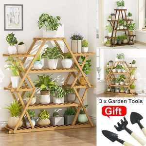 Shelf Pot-Stand Planter Flower Bonsai-Display Wooden Garden Outdoor 3pcs-Tools Patio