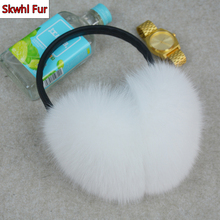 New Arrival Women Plush Genuine Fox Fur Earmuff Winter Lady Big Pompoms Fox Fur Fluffy Earmuffs Warm 100% Real Fox Fur Ear Cover