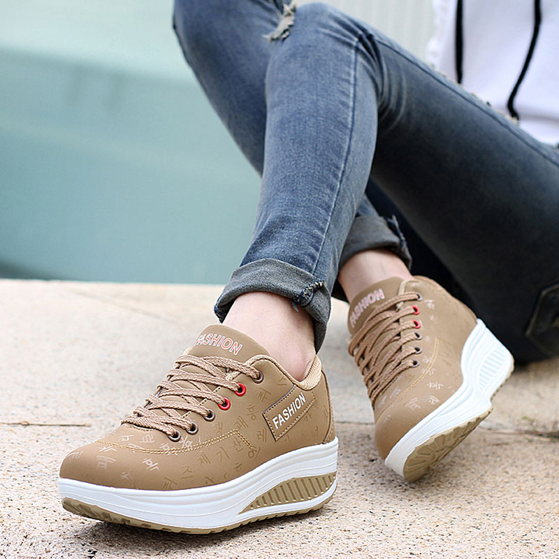 Image 5 - Shoes woman 2019 pu leather breathable sneakers women shoes waterproof wedges platform shoesladies casual shoes women sneakers-in Women's Vulcanize Shoes from Shoes