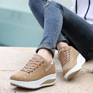 Image 5 - Shoes woman 2020 pu leather breathable sneakers women shoes waterproof wedges platform shoesladies casual shoes women sneakers