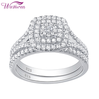 Wuziwen 2 Pcs Engagement Ring Wedding Band Bridal Set For Women 925 Sterling Silver Round Cut AAA Cubic Zincon Classic Jewelry