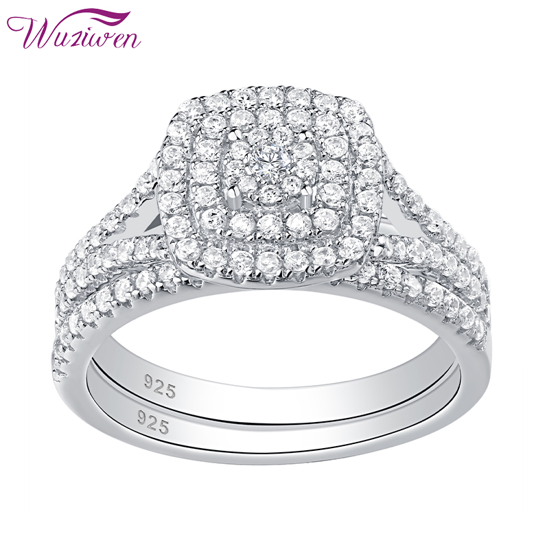 Wuziwen Solid 925 Sterling Silver Rings For Women 2 Pcs Wedding Engagement Ring Bridal Set Round Cut White Zircon Jewelry
