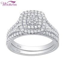 Wuziwen Solid 925 Sterling Silver Weddingหมั้นแหวนผู้หญิง2 PcsชุดรอบสีขาวZirconเครื่องประดับQR5713
