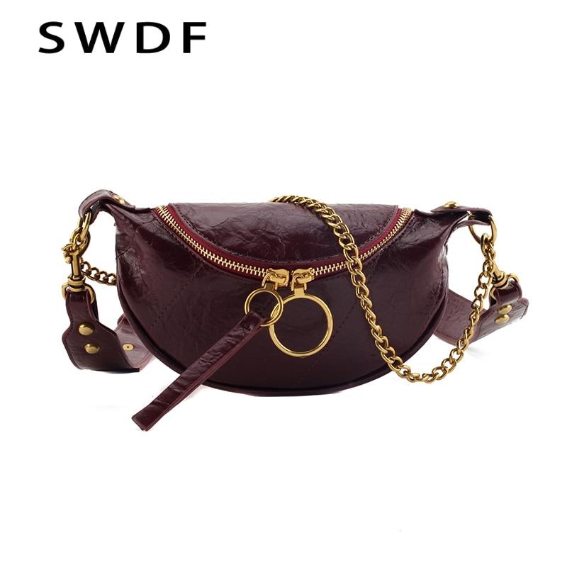 2020 Women Famous Brand Female Chain Bags Waist Black Bag Women Fahsion Waist Bag PU Leather Shoulder Crossbody Chest HandBag