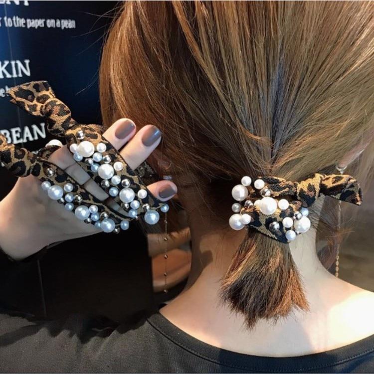 Pearl Rainbow Hair Ties For Women 2020 Leopard Print Hair Bands Girl Hair Accessories