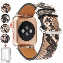 Schlangen Leder Band für Apple Uhr 6 5 4 3 SE 44mm 40mm Armband Handgelenk Band für IWatch serise 6 5 4 3 2 1 42mm 38mm Strap