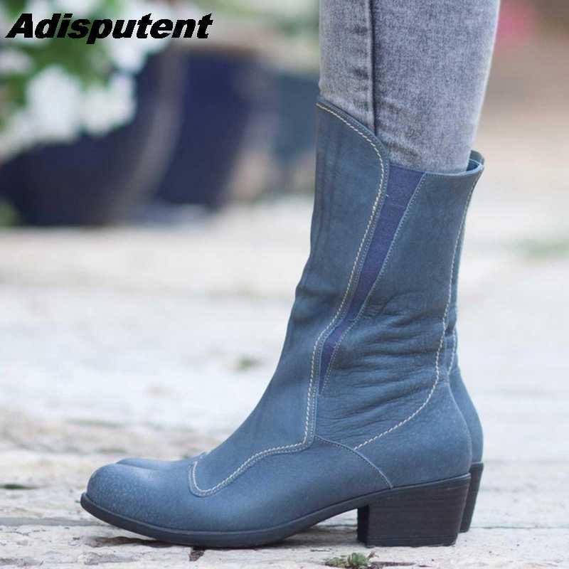 Adisputent diseñado botas de cuero genuino mujeres primavera otoño botas de cuero de vaca Mediados de pantorrilla botas Mujer Zapatos de talla grande 43