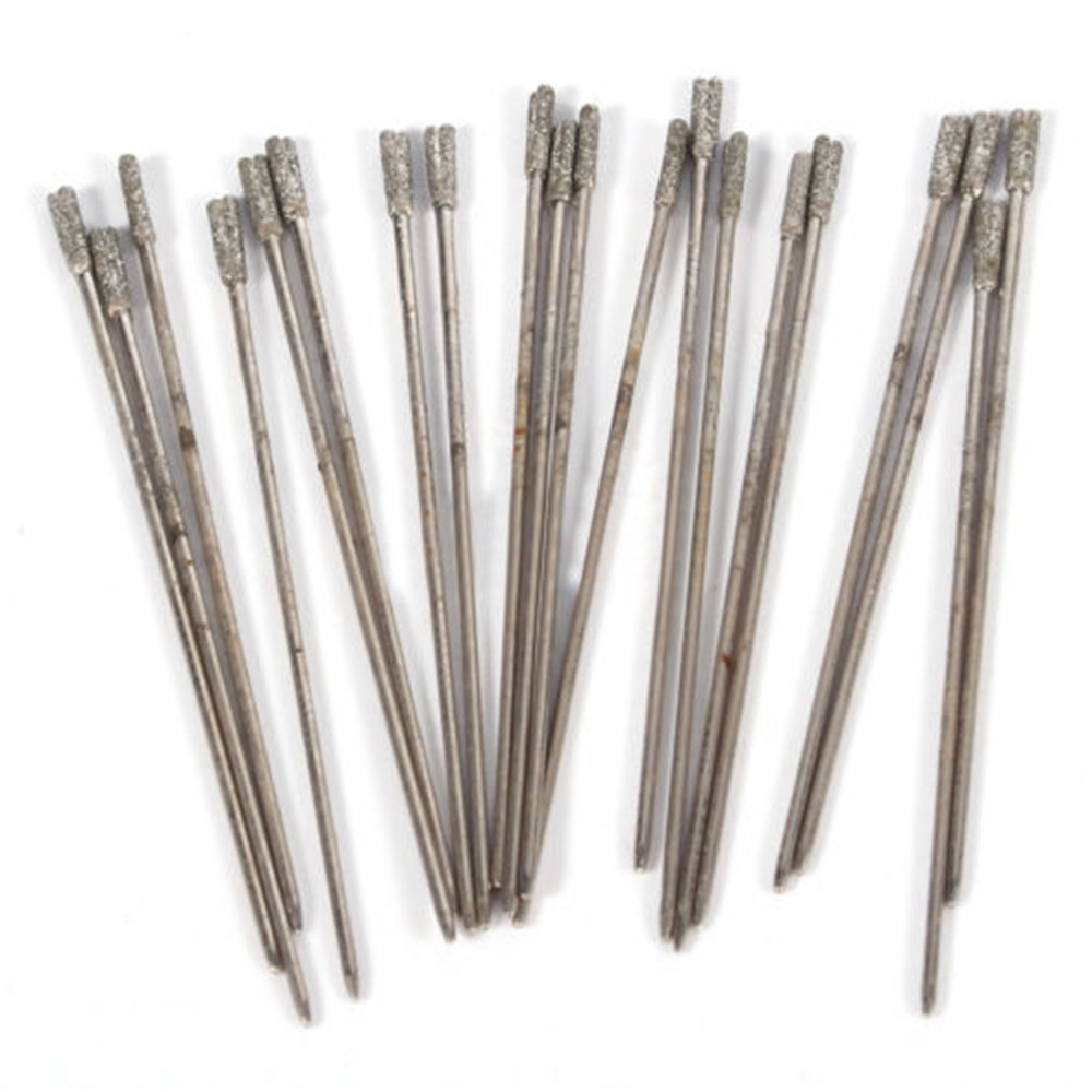 20 Pcs 1mm Diamond Small Gemstone Carving Burrs Drilling Lapidary Tools For Stone Sea Glass Jewelry Drill Bits