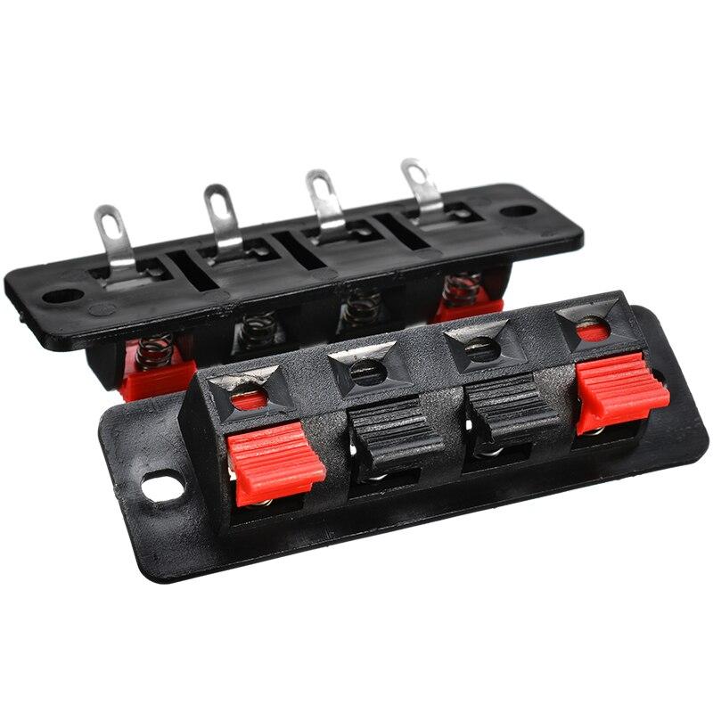 2Pcs 4 Position Spring Connector Terminal Audio Speaker Terminals Wiring Clip/_CS