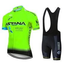 Equipe astana camisa de ciclismo 2019 camisa curta masculina ropa ciclismo hombre ciclismo roupas conjunto bicicleta wear 20d gel almofada