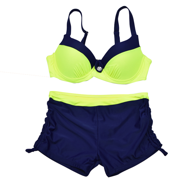 Plus Size Two-Piece Tankini Push Up Bathing Suit With Shorts