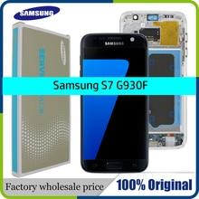 באיכות גבוהה מקורי 5.1 LCD החלפה עבור SAMSUNG Galaxy S7 תצוגת G930 G930F מגע מסך Digitizer עצרת עם מסגרת