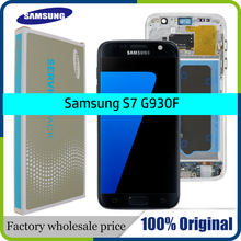 Yüksek kaliteli orijinal 5.1 LCD ekran samsung için yedek Galaxy S7 ekran G930 G930F dokunmatik ekranlı sayısallaştırıcı grup çerçeve ile