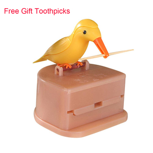 Small Bird Toothpick Container Automatic Toothpick Dispenser Toothpick Holder Storage Box Table Decoration Accessories