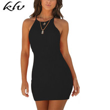 Women Chic Mini Bodycon Solid Color Ribbed Dresses Halter Sleeveless Summer Curve Wrap Sexy Strech Clubwear Party Tank Dress Ves