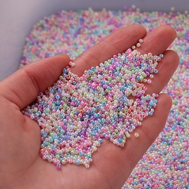 720pcs/lot 2MM Candy Cream Color Czech Glass Seed DIY Beads Uniform Round Hole Beads For Kids Handmade Jewelry Making Fit Sew