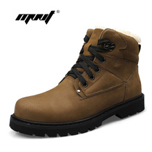 Natural Leather Men Boots Plus Size Winter Shoes High Quality Warm Snow Lace Up Breathable Footwear