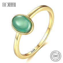 DOTEFFIL Genuine 925 Silver Sterling Oval Emerald Rings for Women Femme Gemstone Rings Fine Jewelry Anniversary/Christmas Gift