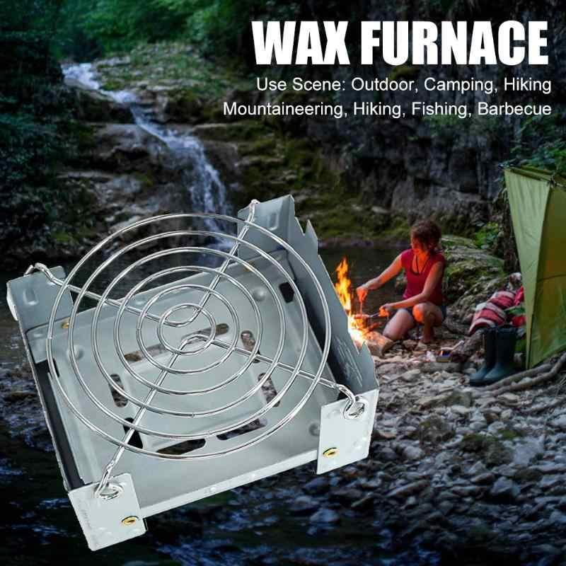 2020 caliente portátil Camping estufa de madera al aire libre Camping horno de cera plegable con Soporte de alambre de disco de acero inoxidable