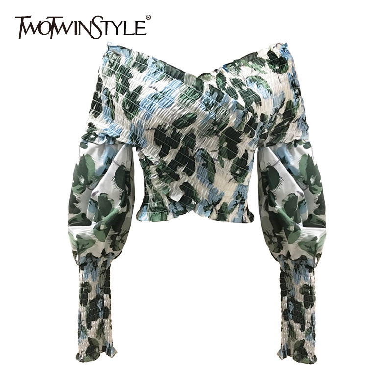 TWOTWINSTYLE Elegant Asymmetrical Print Blouse Women Tops Slash Neck Lantern Long Sleeve Hit Colar Crop Top For Female Clothes